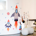Starry Sky Space Rockets Wall Decal