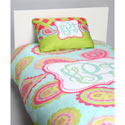 Aqua Paisley Personalized Toddler Bedding Set