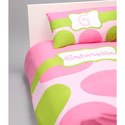Pink & Green Dot Personalized Toddler Bedding Set
