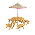 Octagon Table with 4 Stools and Striped Umbrella
