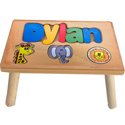 Personalized Jungle Wooden Puzzle Stool