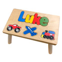 Personalized Transportation Wooden Puzzle Stool