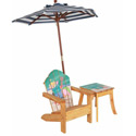 Outdoor Chair with Umbrella and Side Table