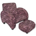 Zebra Velour Chair with Ottoman