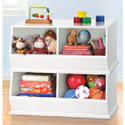 White and Pastel Stackable Storage Bins