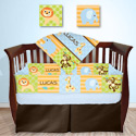 Personalized Animal Safari Crib Bedding