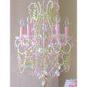 Pink and Green 5 Light Diva Chandelier