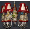 Whimsical Circus 5 Arm Chandelier