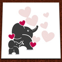 Hand Painted Elephant Hearts Wall Art