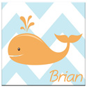 Personalized Chevron Whale Canvas Art