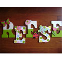 Spring Green Little Critters Wall Letters