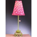 Pink and Green Leopard Waterlily Stick Lamp