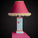 Multi Colored Square Column Lamp with Flowers