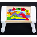 Personalized 3 Dinosaurs Puzzle Stool